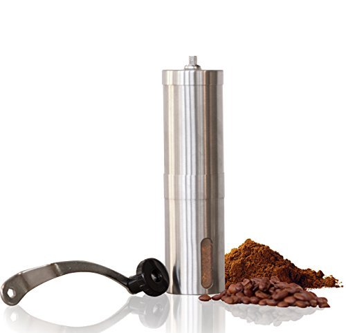 HENSUN Manual Coffee Grinder With Adjustable Ceramic Burrs, Portable Handheld Mini Conical Burr Mill for French Press, Acrylic Jars and Stainless Steel Handle by HENSUN (Image #1)