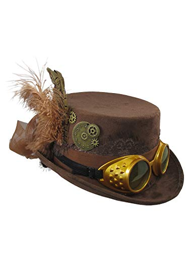 Jacobson Hat Company Deluxe Velvet 4.25 Inch Steampunk Top Hat With Removable Goggles (Brown), One Size from Jacobson Hat Company
