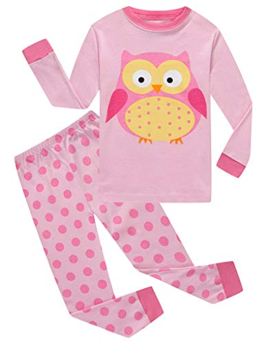 (Owl Big Girls Long Sleeve Pajamas Sets 100% Cotton Sleepwears Kids Pjs Size 8 )