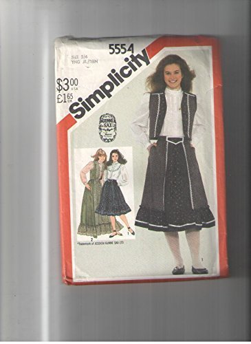 Simplicity 5554 Sewing Patttern, Vintage, Gunne Sax Jessica Mcclintock, Pioneer Inspired. Trimmed Vest, Blouse Skirt in (Vintage Gunne Sax)
