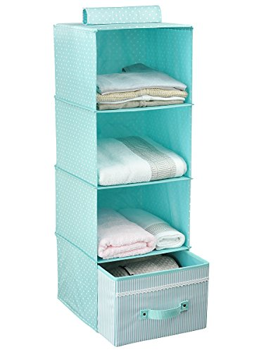Amazon.com: Hanging Clothes Storage for Kids with Drawer (4 Shelving  Units), Closet Organizer for Clothes u0026 Accessory, Cute Color