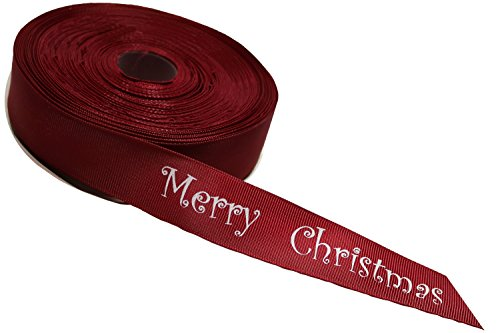 Christmas Fabric Merry (Grosgrain Red Ribbon, Printed with