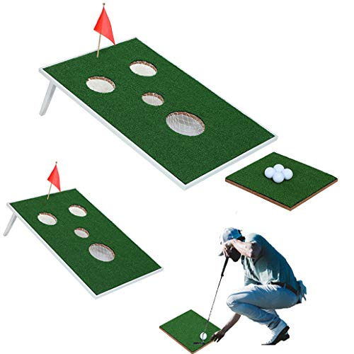SPRAWL Lightweight Portable Iron Framed Cornhole Golf Game Board Set Golf Putter Practice Backyard Game ()