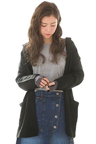 [Happy Honu(ハッピーホヌ)] フード ニット カーディガン ゆったり 大きいサイズ M ~ 5L