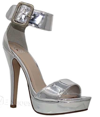MVE Shoes Women's Double Buckle Strappy High Heel Sandals - Sexy Open Toe Pump Shoes -Cross Strap Party Dress Platfoms, Silver Size 7.5
