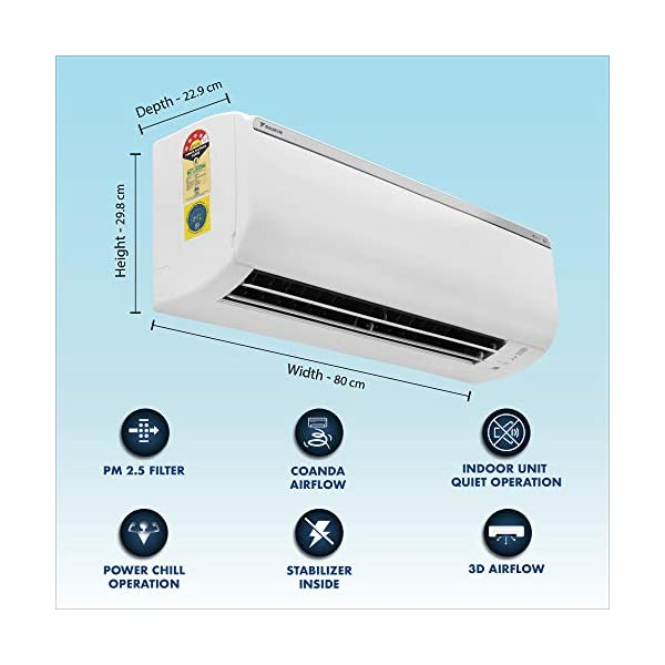 Daikin 1 Ton 4 Star Inverter Split AC (Copper, PM 2.5 Filter, 2020 Model, FTKP35TV, White) 2021 July Split AC with inverter compressor: Variable speed compressor which adjusts power depending on heat load. It is most energy efficient and has lowest-noise operation 1.0 Ton Energy Rating: 4 Star: , Annual Energy Consumption (as per energy label): 650 units, ISEER Value: 4.17