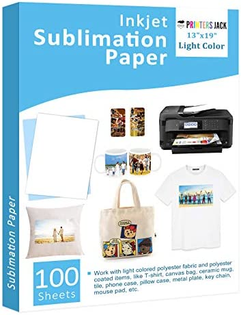 "Sublimation Paper 100 Sheets 13"" x 19"" for Any Epson Sawgrass Inkjet Printer with Sublimation Ink for T-shirt, Ceramic, Mouse Pad, Towel DIY Unique Gifts"