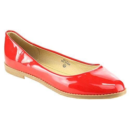 Bella Marie Kvinna Patent Spetsiga Tå Flats Röda