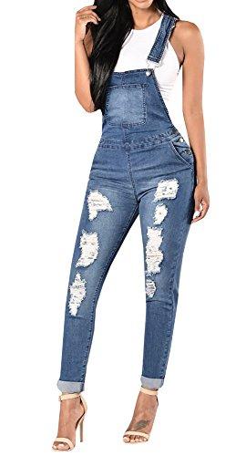 Meilidress Womens Denim Hole Jeans Bib Overall Jumpsuit Casual Ripped Hole Pants Jeans Jumpsuit