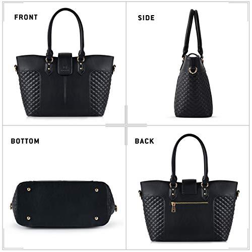 Fanspack Women's PU Leather Tote Bag Lattice Pattern Top Handle Tote Handbags Crossbody Shoulder Bag Purses and Handbags by Fanspack (Image #6)