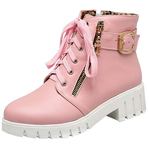 Artfaerie Womens Mid Block Heel Lace Up Ankle Boots Side Zipper Fall Martin Boots with Buckle Winter Shoes Pink