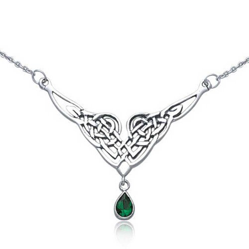 - Simulated Green Teardrop Emerald Celtic Love Knot Irish Statement V Collar Necklace For Women 925 Sterling Silver