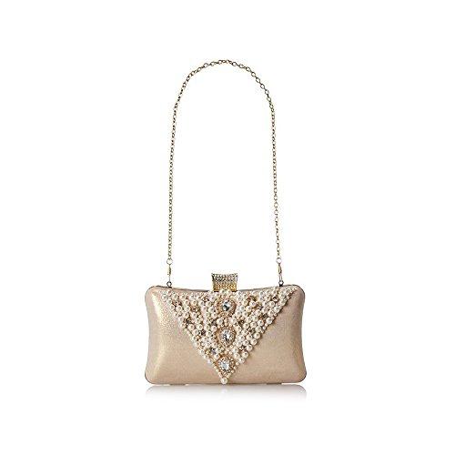 Pearl Bag Purse Gold Rhinestone Crystal Women Ya Evening Clasp Party Elegant Jin Beaded Magnet Clutch qw67Oft