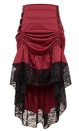 Dentelle Rouge Gothic Femme Bslingerie de Longueur Cheville Punk Jupe la A8qwqS