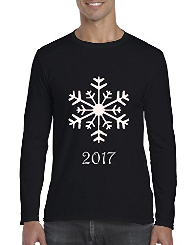 ARTIX Christmas Snowflake 2017 Long Sleeve Men T-Shirt Large Black for $<!--$16.48-->