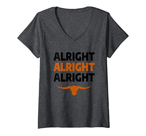 Womens Texas Football Alright Alright Alright Long Horn V-Neck T-Shirt