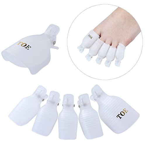 Tinyunicorn 10pcs Wearable Toenail Soaker Clip Caps UV Gel Polish Remover Clamp Manicure Easy Remove Lacquer Tips Wrap Tool White