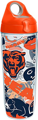 Tervis 1247852 NFL Chicago Bears All Over Tumbler with Wrap and Orange Lid 24oz Water Bottle, Clear (Bear Bottle Water Tervis)