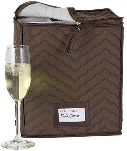 Champagne Flute Glass Goblets Deluxe Storage Chest - Holds 6 Stemware Glasses - Quilted Microfiber - Protect Your Valuable Glassware from Dings, Scratches And Cracks -Brown -11