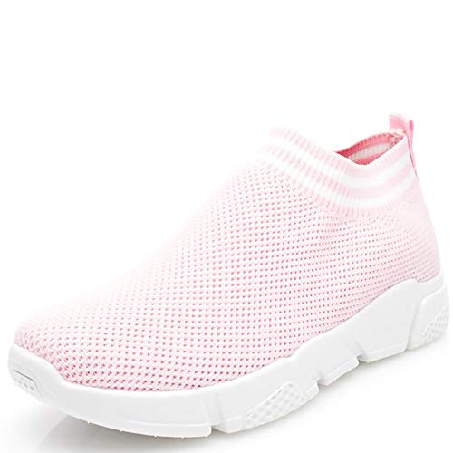 Wonvatu Walking Shoes Women Lightweight Athletic Slip-On Running Shoes Fashion Sneakers Sports Shoes Pink1936