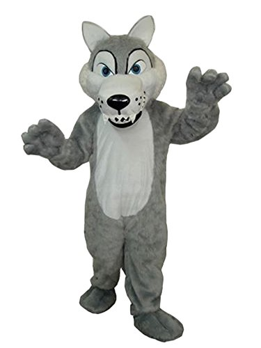 Grey Wolf Mascot Costume Adult Size Cartoon Halloween Fancy Dress Suit]()