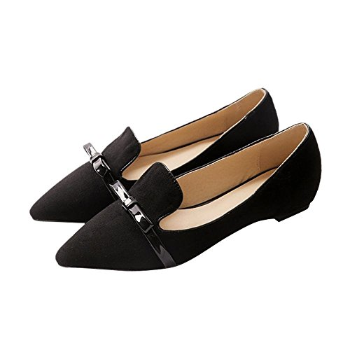 Carolbar Womens Sexy Grace Fashion Pointed Toe Cuff Bows Low Heel Dress Loafers Shoes Black vQwBQ4k0