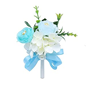 MOJUN Peony Boutonniere for Wedding Flower Brooch Peony Boutineer Wedding Party Prom Homecoming Decor, Pack of 4, Turquoise 102