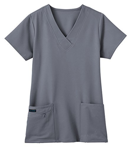 Jockey Women's Scrubs V-Neck Crossover Scrub Top, Pewter, M