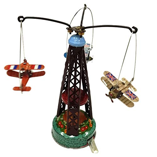 Mm264 Tin Robot Multi-Colored Biplane Merry Go Round Vintage Reproduction Mechanical Collectible