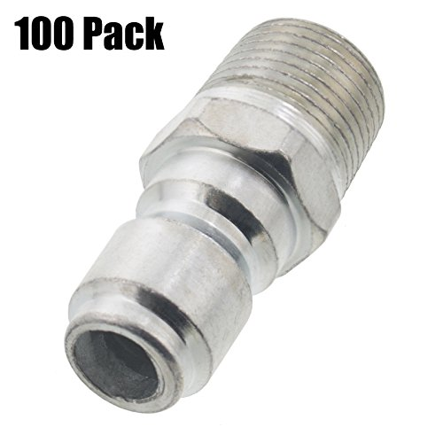 Erie Tools 100 Pressure Washer 3/8 Male NPT to Quick Connect Plug Zinc Plated Coupler, High Temp, 4000 PSI, 10.5 GPM by Erie Tools