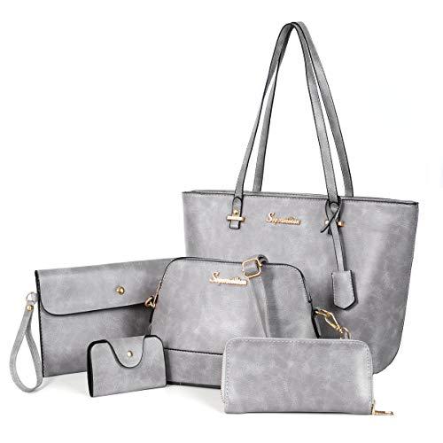 Soperwillton Handbag Set for Women Tote Purse and Handbags Satchel Shoulder Bag 5pcs Purse Set ()