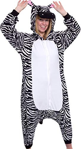Silver Lilly Adult Pajamas - Plush One Piece Cosplay Animal Costume (Zebra, M)]()