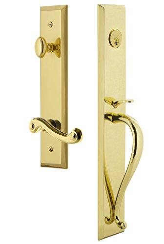 Grandeur 847870 Hardware Fifth Avenue One-Piece Handleset with S Grip and Newport Lever Size, Single Cylinder Lock-2.75