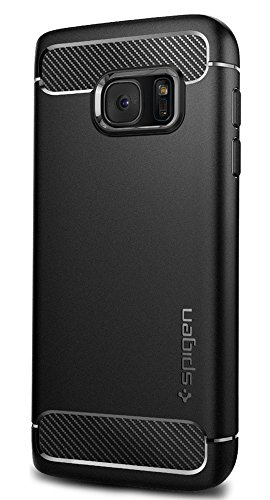 Spigen Rugged Armor Samsung Galaxy S7 Case with Resilient Shock Absorption and Carbon Fiber Design for Samsung Galaxy S7 2016 – Black