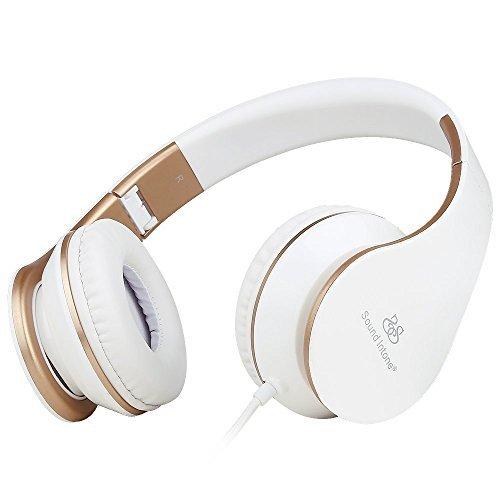 Sound Intone I65 faltbarer ON-Ear Kopfhörer, Hifi-Stereo Klanqualität, mit 3,5 mm Klinkestecker, drehbare Ohrpolster, Rauschreduzierung, integrierter Lautstärkeregelung und Mikrofon für PC/ Smart Phone/ Iphone6/ Ipad/ Samsung/ Psp/ Ipod/ Mp3 Player/ Android (Weiß/Gold)