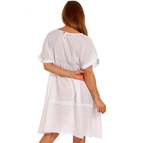 Leinenkleid Tunika Italy Kleid Weiß Strandkleid Freizeitkleid Plus Damen Size Made Hq4wt66