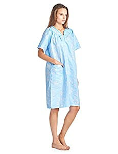 Casual Nights Women's Floral Woven Snap-Front Lounger House Dress