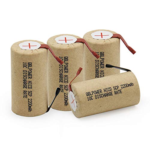 QBLPOWER SubC Sub C 2200mAh Nicd 1.2V Rechargeable Battery for Power Tools with 10C Discharge Rate with Tabs(Pack of 4) (Sub C Nicd Rechargeable Battery)