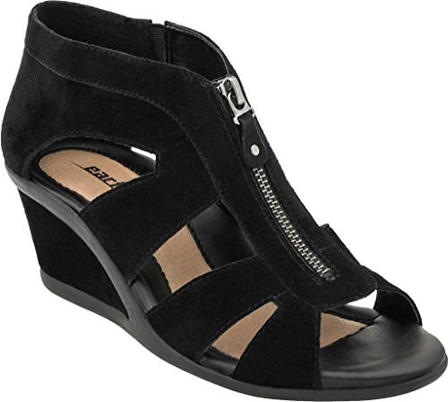 Black Leather Wedge Heel (Earth Women's Poppi Wedge Sandal,Black Suede,US 7.5 M)