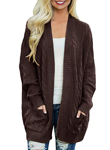 Doballa Women's Boyfriend Open Front Long Sleeve Cable Knit Aran Twisted Cardigan Sweaters Coat With Pockets (M, Coffee)