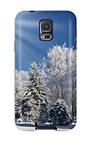 4418474K34319390 For Galaxy Protective Case, High Quality For Galaxy S5 Bright Snow Skin Case Cover