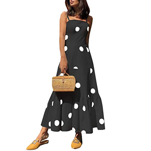 Women's Summer Casual Loose Long Dress Wave Point Sleeveless Beach Cocktail Wedding Party Dress Black