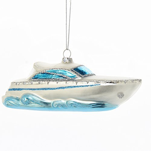 Boat Ornament - Power Boat Yacht Glass Ornament