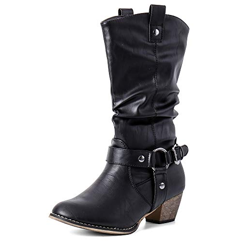 Moda Chics Women's Wild Mid Calf Western Cowboy Boots Black 9 B(M) -