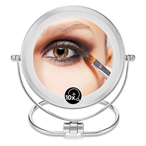 OMIRO Makeup Vanity Mirror with Lights, 1X/10X Magnification Double-Sided LED Lighted Stainless Steel, Round 6 Inch ()