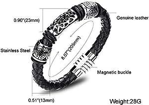 2015 Fashion Tatanium Steel Cool Leather Black Men Bracelet as Gift for Male b137 PH952
