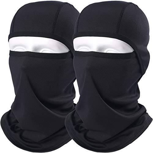 AXBXCX 2 Pack Balaclava - Breathable Face Mask Windproof Dust Sun UV Protection for Motorcycle Cycling Motocross Riding Hunting Hiking Fishing Ski Snowboard Tactical Paintball Airsoft Black