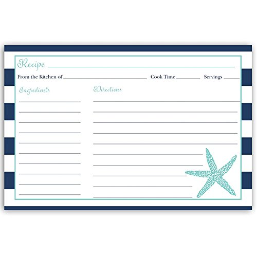 Recipe Cards, Nautical, Starfish, Aqua, Blue, White, Navy, Stripes, Bridal Shower, Wedding, Housewarming, Gift, Double Sided with Lines, Size 4 x 6, 24 Printed Cards
