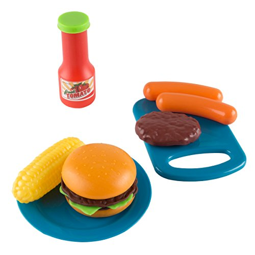 415EXRGOuaL - BBQ Grill Toy Set- Kids Dinner Playset with Realistic Sounds and Grate Lights- Includes Barbecue Food and Accessories, Pretend Kitchen