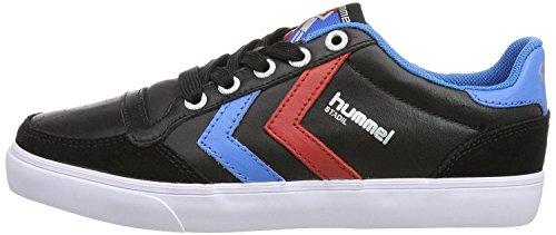 Hummel Slimmer Stadil Nero Blu Rosso Pelle Uomo Lo Sneaker Scarpe Stivali